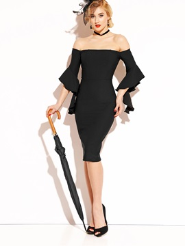 Black Slash Neck Flare Sleeve Womens Bodycon Dress