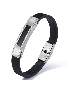 Personality Mens Titanium Steel Leather Bracelet