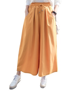 Plain Loose Cotton Blends Lace Up Wide Legs Casual Pants