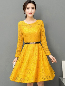 Multi Colored Round Neck Lace Dress