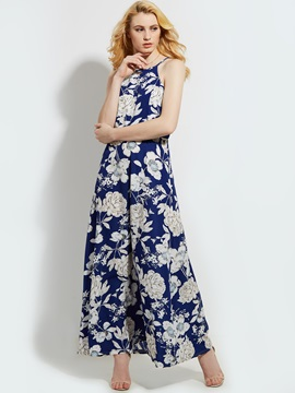 Floral Imprint Sleeveless Dress