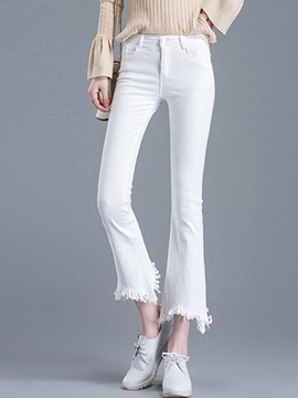 Slim Denim Asymmetric Tassel Patchwork Bellbottoms Jeans