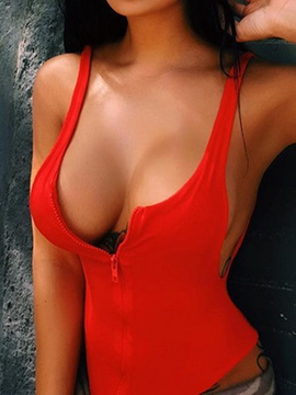Sexy Zipper Plain One Piece Swimwear