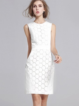 Off White Sleeveless Bodycon Dress