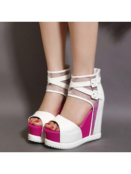 Pu Zipper Bright Color Womens Wedge Sandals