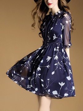 Fashion Floral Imprint Chiffon Skater Dress