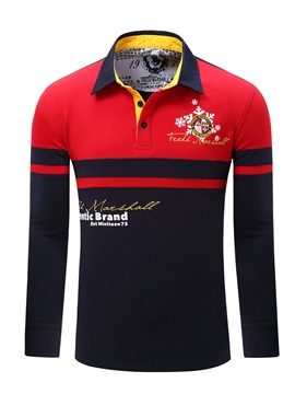 Label Stripe Long Sleeve Mens Polos
