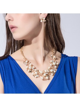 Golden E Plating With Rhinestone Pearl Jewelry Set