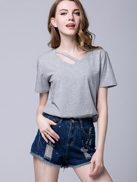 Plain V Neck Irregular T Shirt
