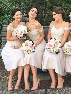 Chic Off The Shoulder Appliques Knee Length Bridesmaid Dress
