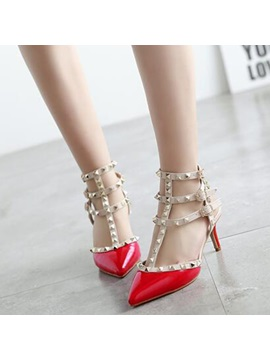 Pu Buckle Rivets Closed Toe Womens Slingback Shoes
