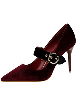 Professional Sude Buckle Pointed Toe Womens Pumps