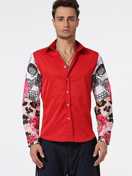 Straight Patchwork Vogue Print Mens Shirt