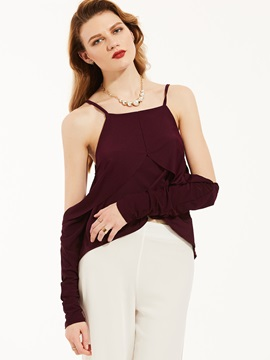 Plain Round Neck Cold Shoulder Blouse