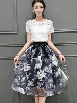 Floral Pleated Hollow Mesh Patchwork Bowknot Ball Gown 2 Piece Sets