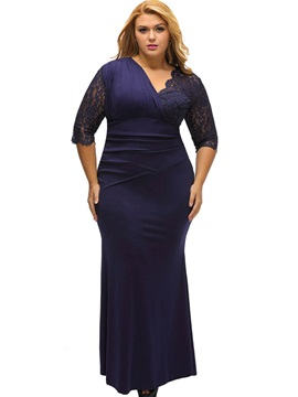 Solid Color V Neck Plus Size Dress