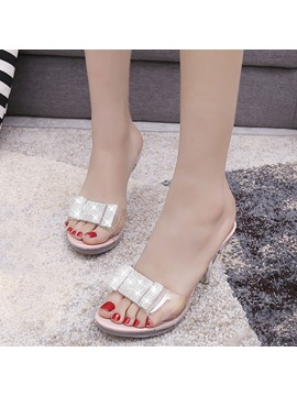 See Through Slip On Rhinestone Womens Heel Sandals
