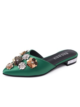 Pu Flower Appliques Closed Toe Womens Sandals