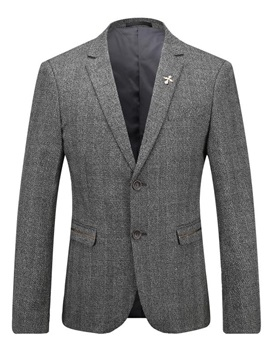 Double Button Slim Notched Lapel Mens Blazer