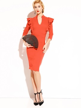 Chic Pure Color Half Sleeve Womens Bodycon Dress