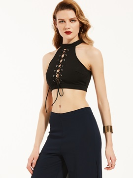 Plain Halter Lace Up Tank Top