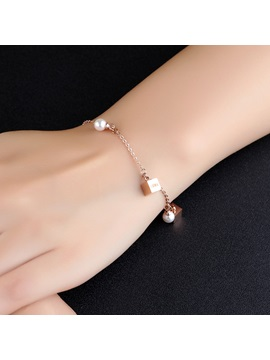 Love Carved Rose Gold Square Block Design Bracelet