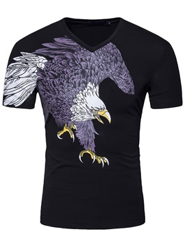 Eagle V Neck Slim Mens Casual T Shirt