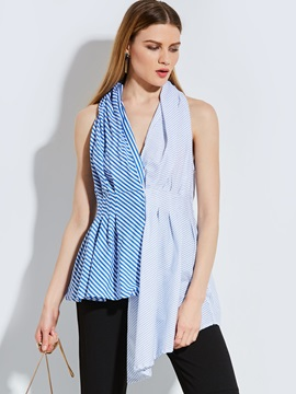 Asymmetric Stripe Sleeveless Blouse