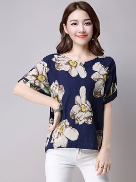 Loose Round Neck Print T Shirt
