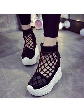 Suede Side Zipper Hollow Womens Black Sneakers