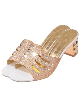 Pu Hollow Rhinestone Slip On Block Heels