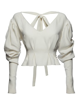 White V Neck Bowknot Bead Blouse