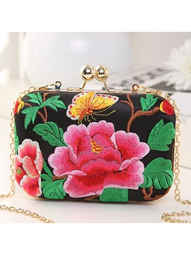 Exotic Color Block Peony Embroidery Evening Clutch