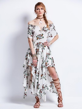 Slash Neck Flower Printing Maxi Dress