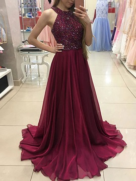 A Line Sleeveless Halter Beaded Prom Dress