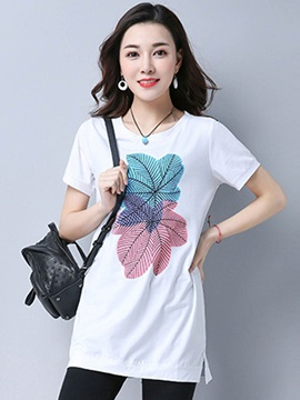 Loose Round Neck Print Mid Length T Shirt