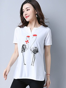 Loose Print Short Sleeve T Shirt