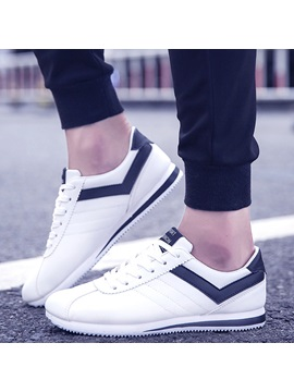 Pu Color Block Lace Up Simple Sneakers For Men