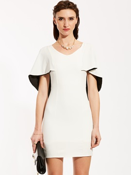 V Neck Batwing Sleeve Bodycon Dress
