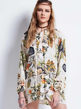 Print Lantern Sleeve Mid Length Blouse