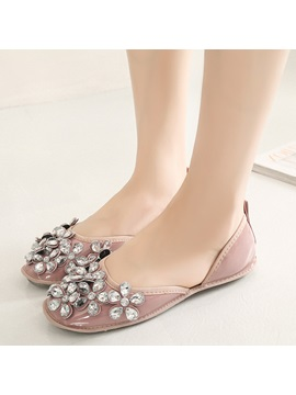 Pu Slip On Rhinestone Womens Flats