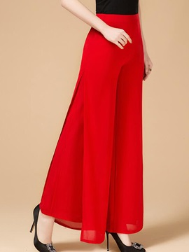 High Waist Wide Legs Chiffon Asymmetric Casual Pants