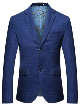 Two Button Notched Lapel Plaid Mens Blazer