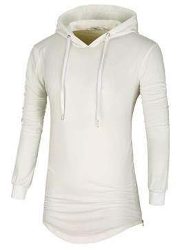 Mid Length Simple Lace Up Mens Fashion Hoodie