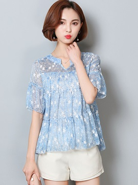 Loose V Neck Print Chiffon Blouse