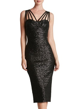 Sexy Sequins Sleeveless Womens Bodycon Dress