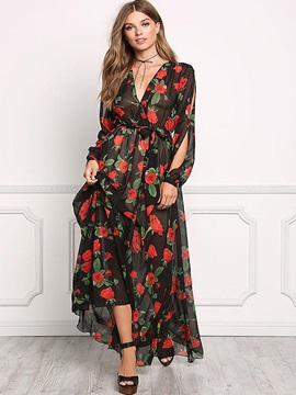 Long Sleeve Floral Imprint Chiffon Dress