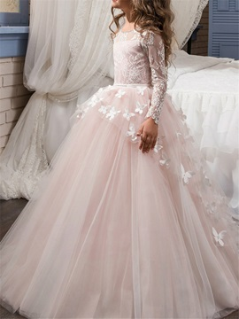 Fancy Long Sleeves Lace Appliques Flower Girl Dress