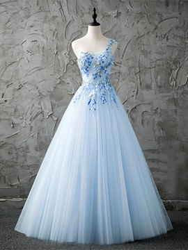 Delicate One Shoulder A Line Beading Pleats Floor Length Prom Dress