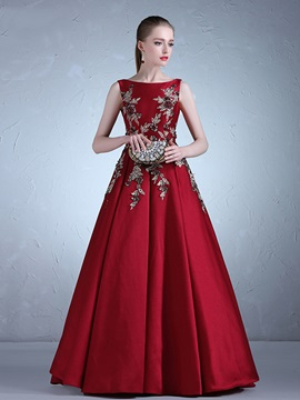 Attractive Bateau Appliques Ball Gown Sleeveless Floor Length Evening Dress